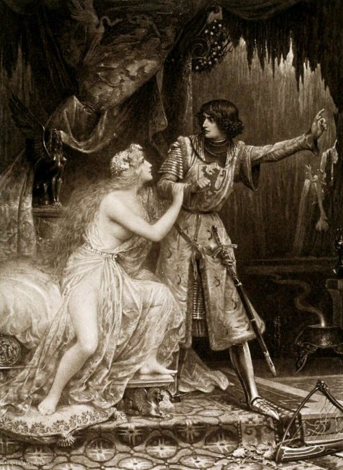 Tannhauser in the Venusberg (1896) by   Jacques Clément Wagrez  (1850–1908) #jacques clement wagrez  #jacques clément wagrez #Illustration#art#richard wagner#opera