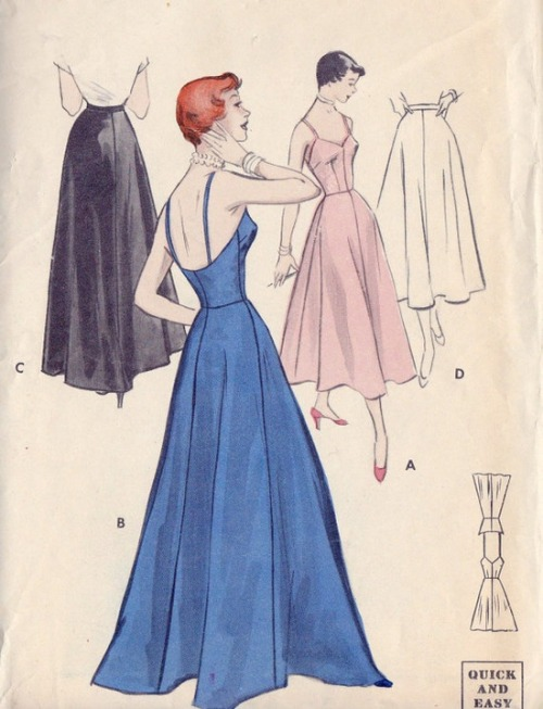 theniftyfifties:  1950s Mises one piece slip sewing pattern illustration.