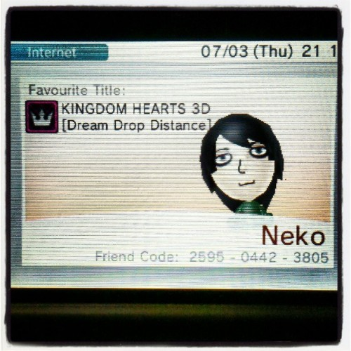 9pm; my 3ds friend code! (2595-0442-3805). Add me! :) #3ds #friendcode #nintendo