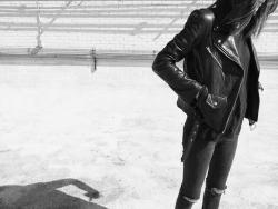 Black and White fashion leather jacket