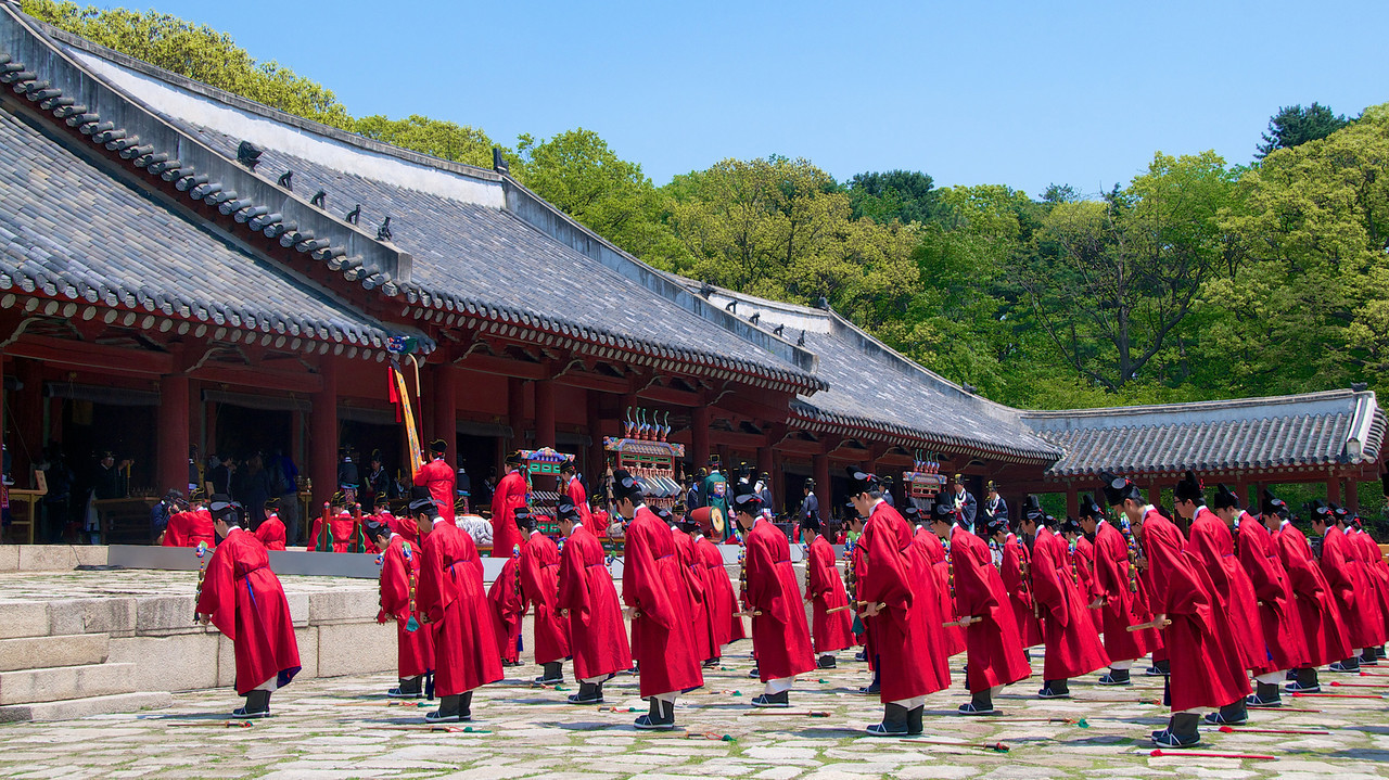 Ceremonial dancing is about to begin, Yeongnyeongjeon Hall, Jongmyo Shrine. The memorial rite for the kings of the Joseon Dynasty, the Jongmyo Daeje is performed by the Jeonju Yi clan, Korea's former royal family, on the first Saturday of May.