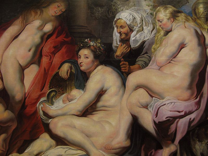 Jacob Jordaens [Flemish Baroque Era Painter, 1593-1678] The Daughters of Cecrops Finding the Child Erichtonius, 1617 oil on painting