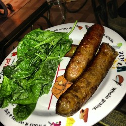 Spinach salad w/ broiled Italian sausage #dinner #instagramhub #healthy