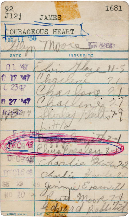 "alexanderchee:  chicagopubliclibrary:  Elvis Presley's Signed Library Check-Out Card  A library card bearing the signature of a 13-year-old Elvis Presley was sold at auction for $7,500, doubling estimates. The autograph is believed to be the earliest signature of the King of Rock and Roll. The auctioneers did not expect much from the library card signed to borrow a copy of ""The Courageous Heart: A Life of Andrew Jackson for Young Readers"" from Humes High School in Memphis in 1948. The card was discovered during a library inventory in the book about US President Andrew Jackson, one of the founders of the Democratic Party. The book was sold at auction along with the autograph.   <3 <3 <3"