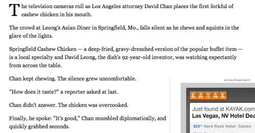 In which I am mentioned, if not named, in the lede of a story in the Los Angeles Times about a guy who has eaten at over 6,000 Chinese restaurants. Here's my story on that day.