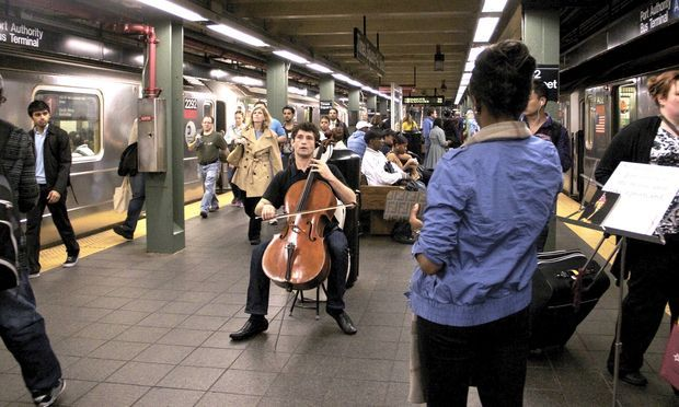 All Aboard the Bach Train New Yorkers, have you noticed Bach accompanying you today in transit? It's not just strains from our The Bach Variations festival getting stuck in your head. To celebrate the composer's 328th birthday today, accordionists, violinists, a keyboardist, and cellists galore are serenading straphangers with Bach in subway stations throughout the city. Check out this handy map and schedule detailing the third annual Bach in the Subways Day. Photo of Dale Henderson, Bach in the Subways Day founder, courtesy of WQXR.