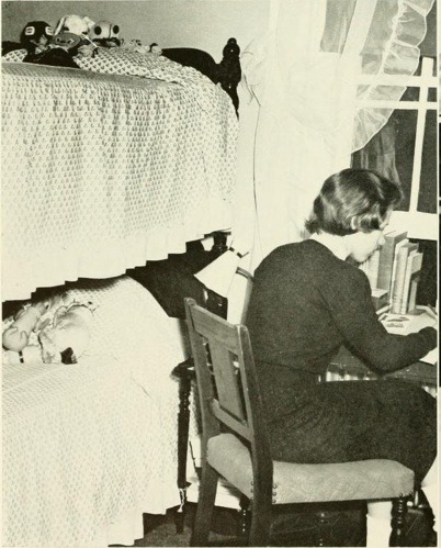 1958 Briar Patch- reading in the dorms.