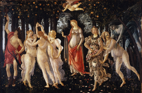Primavera (Allegory of Spring).  Sandro Botticelli, c. 1482.   (Click for gorgeous hi-res, 6MB)