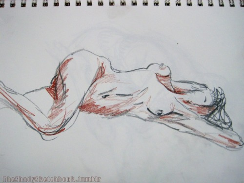 Another drawing from the last figure drawing session. I forgot about this one, but I did it in my sketchbook after having ran out of canvas paper. In Conte pencil