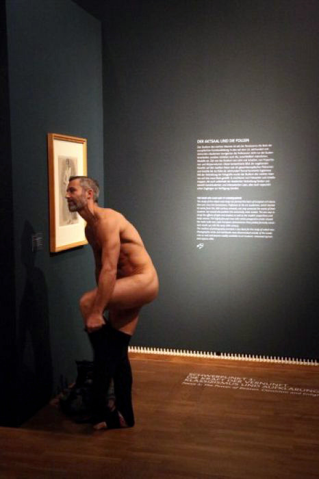 """AN AUSTRIAN museum says a man took the concept of life imitating art to an extreme when he suddenly stripped at an exhibition of pictures and sculptures portraying nude men through the ages. Vienna's Leopold Museum says that after taking his clothes off, the man calmly sauntered through the exhibition, dressing again only after a security guard asked him to do so. Museum spokesman Klaus Pokorny said that the museum had nothing to do with Saturday's strip, describing it as a ""spontaneous act"". He says other visitors did not appear disturbed. He said that since its October 19 opening, the Nude Men exhibition had attracted more than 65,000 visitors – all of them dressed except for one."""
