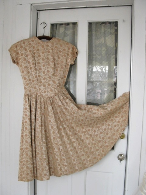 Hey VINTAGE ladies! I have revamped my Etsy store with better pictures and items! Finally I have a nice space to work with natural light! Enjoy :) 1950s Jerry Gilden, Gilden Juniors Gold Brocade Formal Party Dress. SO CUTE available at the Vintage Bunker Etsy Store