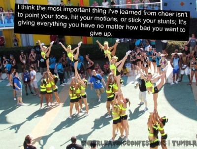thisisthe-cheerdynasty:  It's taught me that when you fall to get right back up like nothing ever happened (: