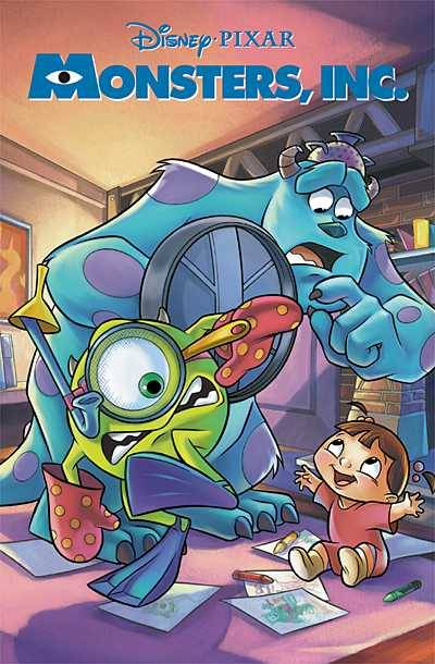 Market Monday Monsters Inc. #1, art by Elisabetta Melaranci and Anna Merli  Just in time for the 3D rerelease of the classic Disney-Pixar adventure! When they're not hiding under the bed or lurking in the closet, the monsters that scare human children live and work in the great city of Monstropolis. Monsters Mike and Sulley accidentally allow a human girl to sneaks into Monstropolis, and they must return her to her home before anyone notices - or they might lose their jobs at Monsters, Inc.!