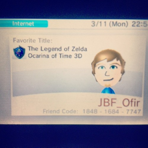 My 3DS account! This is my friend code: 1848-1684-7747 feel free to add me and I will add you too (just let me know, yeah?)