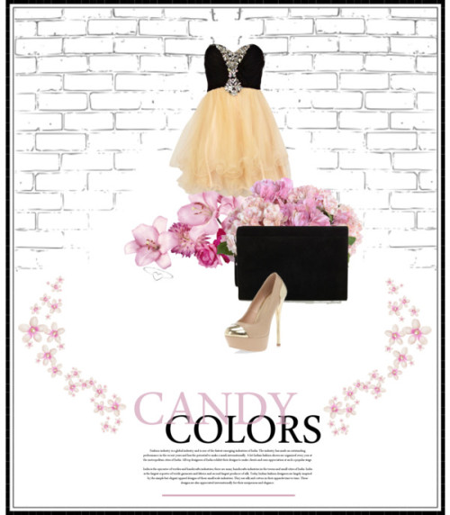 Candy Colors by lay-and-nisa featuring heart jewelryForever Unique cocktail prom dress, $285 / Dorothy Perkins gold high heel shoes / Karen Millen  / Aurélie Bidermann heart jewelry / New Growth Designs Pink Hydrangea Faux Flower Arrangement