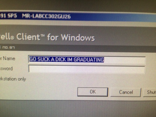 lookingforsydney:  So this was on one of the computers in the school lab the Monday after the last week of school for the seniors.