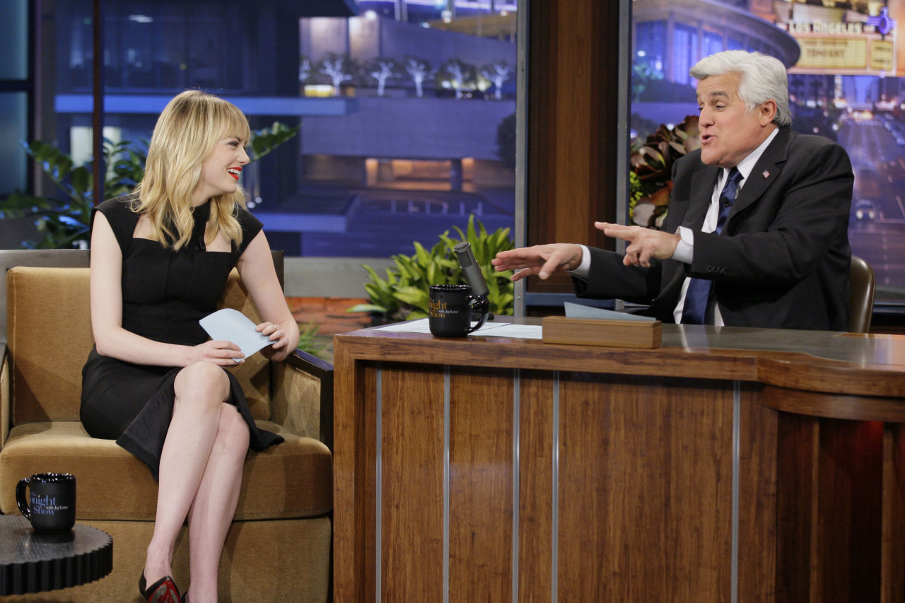 Emma Stone at The Tonight Show with Jay Leno in Burbank 1/8/13 More pics of Emma Stone on SwaGirl.com