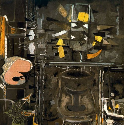 JED PERL on Georges Braque The Relevance of Irrelevance Braque and Picasso—who were like mountain climbers, so Braque later recalled, bound together in the development of Cubism—represent divergent attitudes toward modernity. Picasso is the athlete in the stadium. Braque is the poet in the tower. Although there are many painters in New York who care much more for Braque than Picasso, nobody can wonder why the city's curators, critics, and collectors have more often than not embraced the mercurial Spaniard. But right now, at the Acquavella Galleries, Braque is having a moment. Perhaps there is a paradox here. Can an artist with a taste for the timeless ever strike us as timely? Braque, at least so I imagine, would find the question absurd. For him, the avant-gardist is not ahead of his time so much as he is outside of his time. With Studio IX, Braque invites us into the poet's tower, where the gray light, penetrating without being especially strong, illuminates a palette, a jar, an easel, a bird's wings. Studio IX is heraldic, emblematic, inscrutable. Braque's great subject is the insatiable imagination. He invites us to feast with him. Click to read more on New Republic Image: Georges Braque, The Studio (IX), 1954, oil on canvas