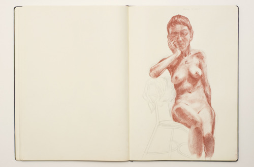 Conté and graphite drawing, March 27, 2013, in A3 Sketchbook.