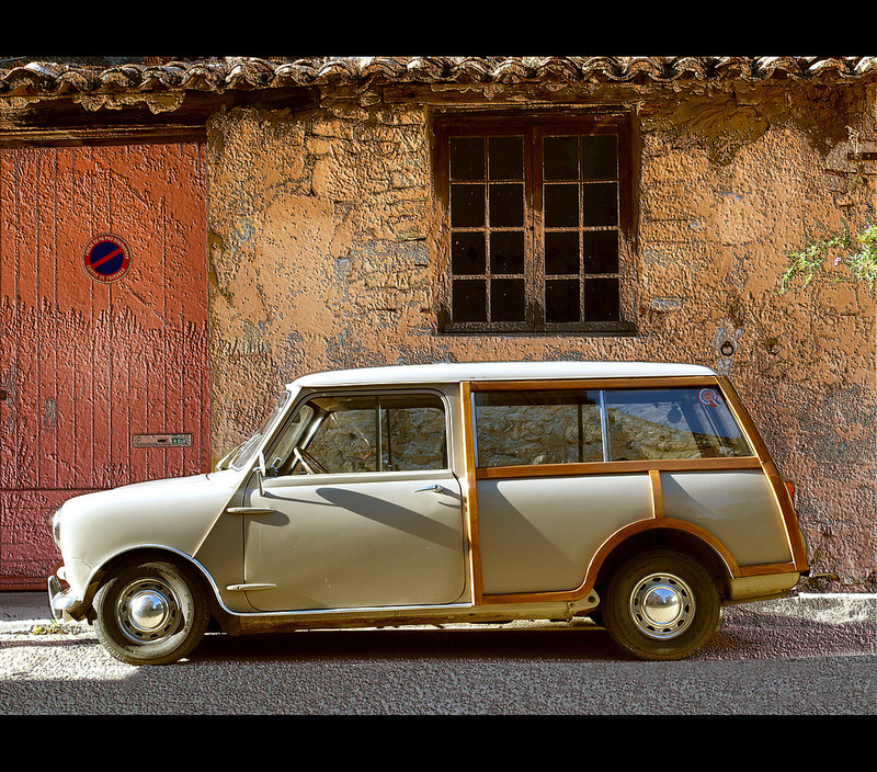 | ♕ |  Voiture en bois  | by © dubus regis | via ysvoice Morris Mini Minor + Austin Seven on the road in Marseille.
