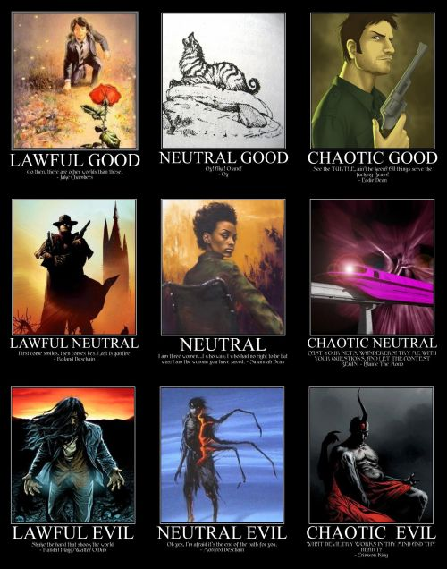 nowisdasick:  The Dark Tower. Character Alignment Chart.  A bit hard to read, but what I got is below. Feel free to correct me? ://Sarah LAWFUL GOOD: Jake Chambers. Go then, there are other worlds than these. NEUTRAL GOOD: Oy. Oy! Ake! Olan! CHAOTIC GOOD: Eddie Dean. See the TURTLE, ain't he keen? All things serve the fucking Beam. LAWFUL NEUTRAL: Roland Deschain. First come smiles, then come lies. Last is gunfire. NEUTRAL: Susannah Dean. I am three women… I was; I who had no right to be but was; I am the women who you saved. CHAOTIC NEUTRAL: Blaine the Mono. CAST YOUR NETS, WANDERERS. TRY ME WITH YOUR QUESTIONS AND LET THE CONTEST BEGIN! LAWFUL EVIL: Randall Flagg/Walter O'Dim. Shake the hand that shook the world. NEUTRAL EVIL: Mordred Deschain. Oh yes, I'm afraid it's the end of the path for you. CHAOTIC EVIL: The Crimson King. WHAT DEVILTRY WORKS IN THY MIND AND THY HEART?