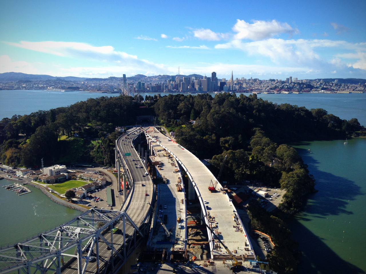 rayedkhan:  San Francisco from atop the main tower of the nearly-completed Bay Bridge eastern span. January, 2013  WHOA awesome