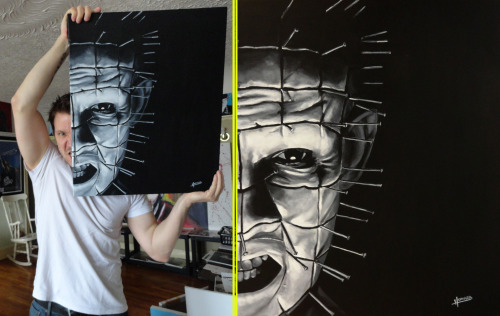 Just a reminder that this PINHEAD painting is still up for 'Silent Auction' - Not too many bids on it yet, but I'm going to keep this going for at least another week. Also, just to mention, What I will be doing with it is a little like when you sell something on eBay and set a 'reserve price' for it, where, if no bids meet that Reserve Price, I won't be selling it. Say for some reason the top bid was $50, there is no way for the time, materials and effort put in to it I could sell it for that cheap, of course. So if you're interested in owning the Duke of Hell, shoot me your offer, I'll let ya know if you're in the lead or if you've been outbid! www.facebook.com/artbyleehoward