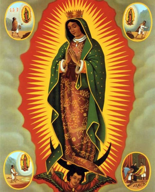 A popular print of Our Lady of Guadalupe with four events from the apparition story.