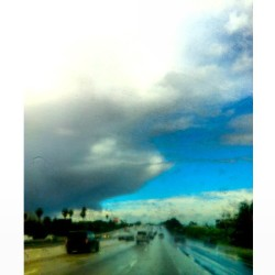 Literally driving along the edge of this #storm. ☁☀ #rain #clouds #bluesky 😍