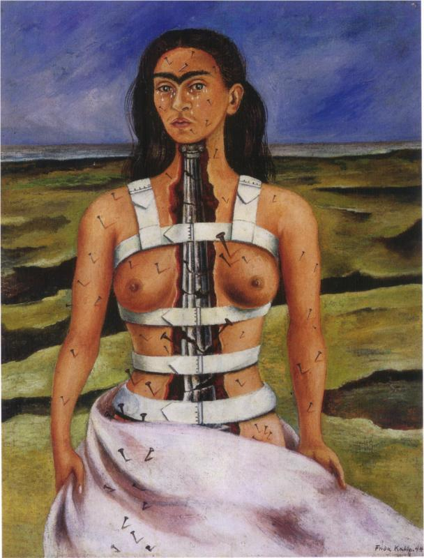 collectivehistory:  The Broken Column, 1944 by Frida Kahlo Kahlo was 18 years old when she was involved in a horrific traffic accident, in which an iron rod pierced her abdomen, right foot was crushed, and two vertebrae were fractured, as well as a number of other bones, including eleven fractures in her right leg. As she recovered in a full body cast, her mother brought her a small lap easel, and, with a mirror over her bed, began painting self-portraits. This self-portrait embodies many elements that were in Kahlo's artwork, including the themes of isolation, a broken body, and intense suffering and pain. This painting also embodies another one of Kahlo's themes, that of two bodies, one of which she is a complete and full bodied woman, and another, reflecting broken insides.