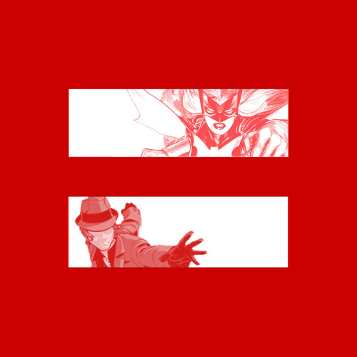 andykhouri:  I made this marriage equality meme thing based on the Human Rights Campaign logo. This features two lesbian superheroes, Batwoman and The Question, who are occasionally a couple.