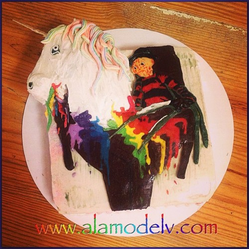 Question: Can you make a cake that includes Freddie Cruger & a unicorn?  Answer: Why yes, yes we can! This is what happens when we receive such a request! Celebrating another @absinthevegas birthday bash! A nightmarishly sweet combo!    Yummy gluten free, vegan, corn free, rice free & soy free and made with 100% organic ingredients.   #bakery  #cornfree  #celiacawarness #foodporn #glutenfree  #lasvegas #livingglutenfree  #organic #purevegan #plantfoodforpeople #ricefree #soyfree #vegan #vegas #veganfood #veganmofo #vegansofig #veganvegas #veganbakery #vegancookies #veganfoodshare  #veganspin  #healthyeah #FoodNetworkFaves #freddiecruger #unicorn #absinthevegas #birthday #webstapick