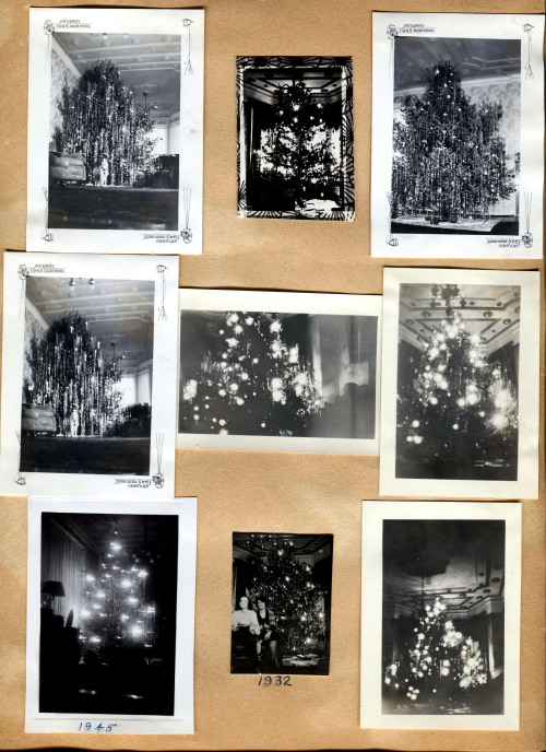 A page of just Christmas trees that upon further examination appear to be from just a few particular years - 1932 & 1944 & 45. I believe that my Grandpa George & Grandma Alice were married in 1932 so this would be from their first Christmas together. Now my Mom was born in September of 1944, so the photos with the January 1945 were for the 1944 Christmas, which would have been her first Christmas. Then at the bottom is 1945 which was really was her first Christmas that she was aware of it taking place. Lastly, there are two shots on the right where the tree is in a different spot. I first noticed this because they had apparently painted the ceiling at some point.  Unlike my ancestor's Detroit homes this one in Chicago is still standing at 4896 N. Paulina St. (Check out the old carriage stepping stone in the front along the curb.) I've never been in it so these little glimpses are most likely the closest I will ever get to seeing the place. I know that after they moved out the place was split up into apartments. I can only hope that beautiful ceiling remains intact.