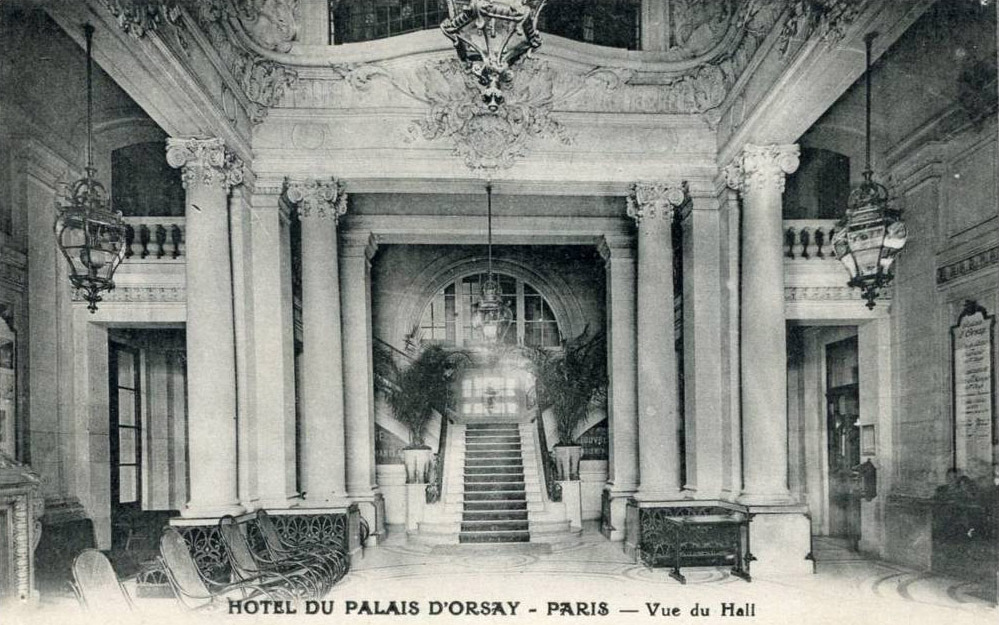 Inside the hall of the Hotel du Palais d'Orsay, Paris