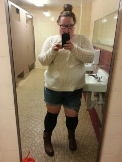 becauseimafuckinglady:  Thigh highs plus cut offs equals almost pants… my kinda math  I operate with this kind of math too!