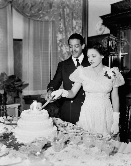 THE WEDDING CAKEMr and Mrs Lewis Johnson cutting the wedding cake, 1930. Addison Scurlock, photographer. Scurlock Studio Records, Archives Center, National Museum of American History, Smithsonian Institution. Black History Album, The Way We WereFollow us on TUMBLR  PINTEREST  FACEBOOK  TWITTER