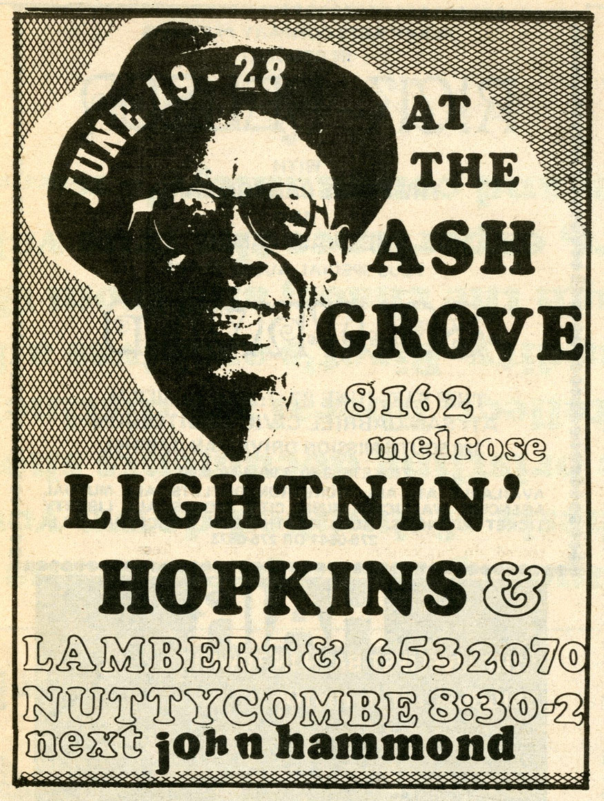 Lightnin at the Ash Grove in 1970