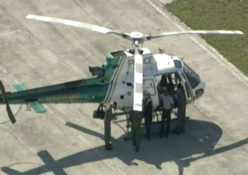 A Miami-Dade Police helicopter conducted an emergency landing following a bird strike near the SB lanes of the Fla Turnpike at the Snapper Creek Plaza.