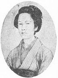 Nakano Takeko (中野 竹子,?, 1847 - 1868) was a Japanese female warrior of the Aizu domain, who fought and died during the Boshin War. Nakano, born in Edo, was the daughter of Nakano Heinai, an Aizu official. She was thoroughly trained in the martial and literary arts, and was adopted by her teacher Akaoka Daisuke.[1] After working with her adoptive father as a martial arts instructor during the 1860s, Nakano entered Aizu for the first time in 1868.[1] During the Battle of Aizu, she fought with a naginata (a Japanese polearm) and was the leader of anad hoc corps of female combatants who fought in the battle independently, as the senior Aizu retainers did not allow them to fight as an official part of the domain's army.[2] This unit was later retroactively called the Women's Army (娘子隊 Jōshitai?). Whilst leading a charge against Imperial Japanese Army troops of the Ōgaki Domain,[3] she received a bullet to the chest. Rather than let the enemy capture her head as a trophy, she asked her sister, Yūko, to cut it off and have it buried. It was taken to Hōkai-ji Temple (in modern-day Aizubange, Fukushima) and buried under a pine tree.[4] A monument to her was erected beside her grave at Hōkai-ji; Aizu native and Imperial Japanese Navy admiral Dewa Shigetō was involved in its construction.[4] During the annual Aizu Autumn Festival, a group of young girls wearing hakama and white headbands take part in the procession, commemorating the actions of Nakano and her band of women fighters of the Joshigun. Hoshi Ryōichi (2006). Onnatachi no Aizusensō. Tokyo: Heibonsha. Yamakawa Kenjirō; Munekawa Toraji (1926). Hoshū Aizu Byakkotai jūkyūshi-den. Wakamatsu: Aizu Chōrei Gikai.