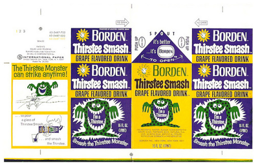 Borden Thirstee Smash Grape Flavored Drink carton (1970s) [via gregg-keonig/flickr]