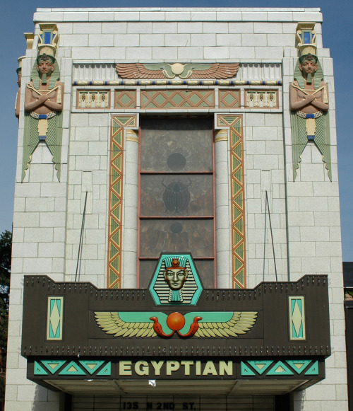 "Egyptian Theater, DeKalb, Illinoisby Terence Faircloth Fantastic! From Flickr:   Art deco theater building with glazed terra cotta ornamentation in DeKalb, Illinois. These lavishly decorated theaters were referred to as ""Popcorn Palaces"" by those who appreciated the style."