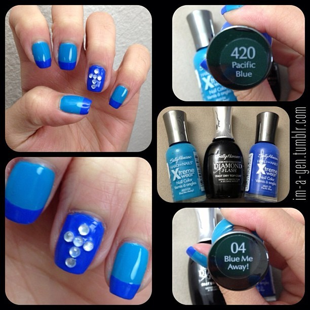 #imagennails 💅 #sallyhansen #blues #cross #bejeweled #nails #nailart #frenchtips #manicure #teal #besttopcoat #freehand #colorblocking #bling #diy #diamond