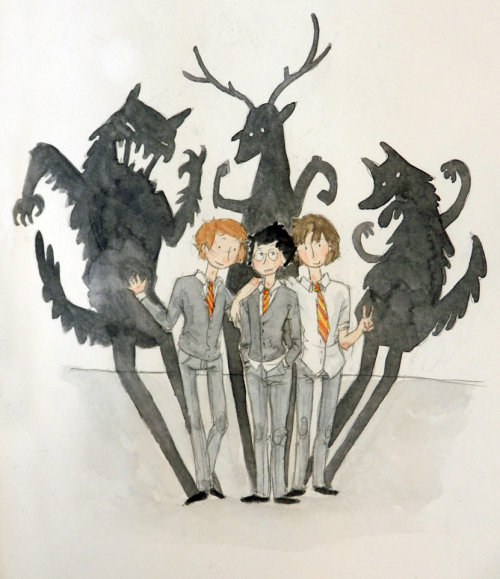The Dog, The Stag And The Beast by ~button-bird on deviantART