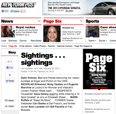 check out Jo's in Page Six today February 290th 2013 http://www.nypost.com/p/pagesix/sightings_sightings_xWZsO1ZBE4WmC9trdNGK9J