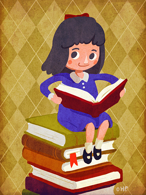 Matilda Wormwood - from Roald Dahl's Matilda Ok so the book is angled wrong but I got too lazy to change it ._. I draw little stubby feet again!