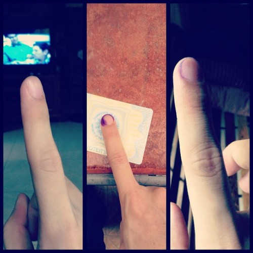 Pre-election. Intra-election. Post-election. #indelibleink #finger #halalan2013 #PHvote (at Gomez's Unplottable House)