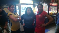 voyagesofthestarship-enterprise:  Grace (left), myself (center) and Nathaly (right) as Kirk, Spock and Uhura for the Star Trek: Into Darkness premiere last night.  Hey guys, look at how ~cool I am.