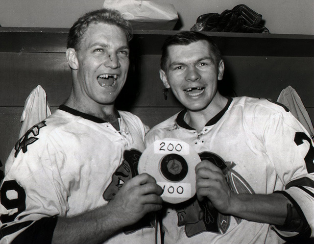 Bobby Hull (posing in this photo with Stan Mikita) turns 73 today. (Bruce Bennett/Getty Images) GALLERY: Hockey's All-Time Best Toothless Smiles