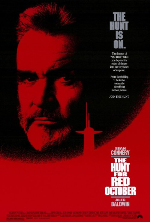 #497/#48 The Hunt for Red October (Rewatch) When a Russian submarine with a new type of silent propulsion drive goes missing in 1984, and the entire Russian fleet goes out looking for it, the American's quickly presume one of the Russian's submarine captains has gone mad and is heading for them. CIA analyst Jack Ryan (Alec Baldwin) believes however, that the captain, Ramius (Sean Connery), is actually attempting to defect with the stolen sub. Hoping for the best, but planning for the worst, the government gives Ryan three days to try and prove this theory, otherwise they will be forced to destroy Ramius and his ship. Red October is easily the best of the Jack Ryan films. It's got a complex and compelling plot about espionage shadow games, two interesting main characters, a great supporting cast and a couple of intense submarine action sequences. It's pretty much everything you want from a Cold War thriller. It hits the right balance of dialogue and action/tension to keep you invested in the plot and wondering if this encounter will finally be the one which gets Ramius caught.  Ramius has got to be one of Connery's better roles. Even in his most dire movies Connery is still entertaining, but when he's committed to a role he can really make it connect with the audience. As Ramius he actually doesn't talk a great deal but you get all of the weight and emotions of his character through his body language and presence. This interacts with his XO Vasiley (Sam Neill) are particularly telling. He hasn't made this decision lightly, but now that he has set his course there is no way he can be deviated from it. I also think Baldwin is the best screen version of Ryan we've had to date. He feels every bit like the reluctant hero who only ever planned on working in the background but won't refuse the call when needed. He just fits as an smart and capable, yet equally out of his depth, analyst. He also manages to be funny without taking away from the magnitude of the situation. Harrison Ford is a great actor but he was too old for the part, for one thing, and never felt like he was overwhelmed by what was happening to him. It's a personal preference, but Baldwin just fit the bill better for me. I'd honestly forgotten how good this movie was, and if nothing else comes from working through the Jack Ryan movies, I'm glad at least it got me to rewatch this thoroughly entertaining movie. 5/5