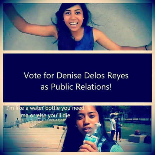 EVHS FRESHMAN! VOTE @denisedelosreyes DENISE DE LOS REYES AS YOUR PUBLIC RELATIONS OFFICER!!! WHOO!